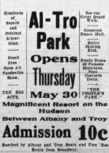 Al-Tro Park Opening Day Newspaper Ad circa: 1907