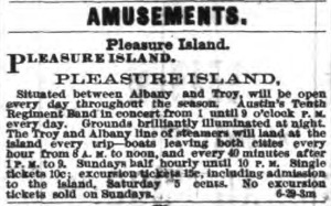 Pleasure Island newspaper ad circa 1882